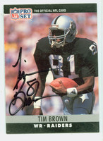Tim Brown AUTOGRAPH 1990 Pro Set Raiders HOF '15 