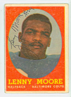 Lenny Moore AUTOGRAPH 1958 Topps Football #100 Colts HOF '75 CARD IS G/VG; RND CRNS; AUTO CLEAN  [SKU:MoorL51194_T58FBgvg]