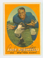 Andy Robustelli AUTOGRAPH d.11 1958 Topps Football #147 Giants HOF '71 CARD IS VG; CRN WEAR, AUTO CLEAN  [SKU:RobuA51466_T58FB]