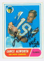Lance Alworth AUTOGRAPH 1968 Topps Football #193 Chargers HOF '78 CARD IS F/P; CREASES
