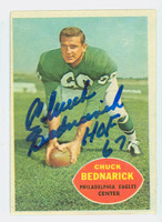 Chuck Bednarik AUTOGRAPH d.15 1960 Topps Football #87 Eagles HOF '67 CARD IS CLEAN EX