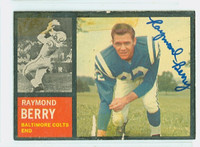 Raymond Berry AUTOGRAPH 1962 Topps Football #5 Colts HOF '73 CARD IS POOR, TAPE ON CARD, AUTO CLEAN