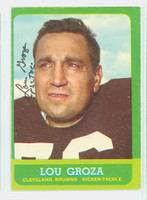Lou Groza AUTOGRAPH d.00 1963 Topps Football #19 Browns HOF '74 CARD IS CLEAN VG/EX