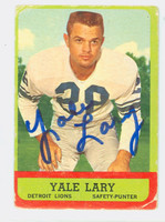 Yale Lary AUTOGRAPH d.17 1963 Topps Football #33 Lions HOF '79 CARD IS F/P; CREASES