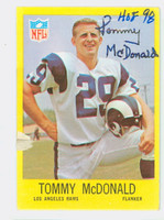 Tommy McDonald AUTOGRAPH 1967 Philadelphia #91 Rams HOF '98 CARD IS CLEAN VG/EX