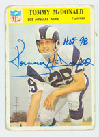 Tommy McDonald AUTOGRAPH 1966 Philadelphia #97 Rams HOF '98 CARD IS F/G: RND CRNS, CREASES