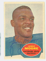 Lenny Moore AUTOGRAPH 1960 Topps Football #3 Colts HOF '75 CARD IS G/VG; LT CREASES; AUTO CLEAN