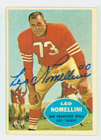 Leo Nomellini AUTOGRAPH d.00 1960 Topps Football #121 49ers HOF '69 CARD IS VG; CRN WEAR, AUTO CLEAN