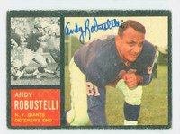Andy Robustelli AUTOGRAPH d.11 1962 Topps Football#108  Giants HOF '71 CARD IS VG; CRN WEAR, AUTO CLEAN