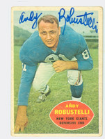 Andy Robustelli AUTOGRAPH d.11 1960 Topps Football #81 Giants HOF '71 CARD IS G/VG; CRN WEAR, AUTO CLEAN