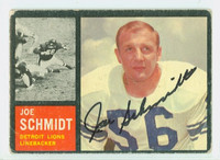 Joe Schmidt AUTOGRAPH 1962 Topps Football #59 Lions HOF '73 CARD IS G/VG; CRN WEAR, AUTO CLEAN