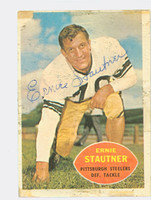 Ernie Stautner AUTOGRAPH d.06 1960 Topps Football Steelers HOF '69 CARD IS POOR, TAPE ON CARD, SL PAPER LOSS