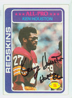 Ken Houston AUTOGRAPH 1978 Topps Football #10 Redskins HOF '86 CARD IS CLEAN EX