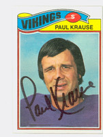 Paul Krause AUTOGRAPH 1975 Topps Football #496 Vikings HOF '98 CARD IS CLEAN EXMT