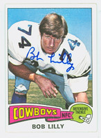Bob Lilly AUTOGRAPH 1975 Topps Football #175 Cowboys HOF '80 CARD IS CLEAN EX