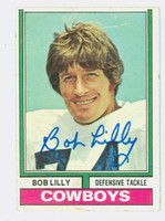 Bob Lilly AUTOGRAPH 1974 Topps Football #250 Cowboys HOF '80 CARD IS CLEAN VG/EX