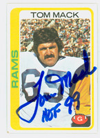 Tom Mack AUTOGRAPH 1978 Topps Football #80 Rams HOF '99 CARD IS VG; CRN WEAR, AUTO CLEAN