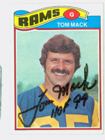 Tom Mack AUTOGRAPH 1977 Topps Football #265 Rams HOF '99 CARD IS CLEAN EX