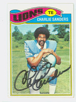 Charlie Sanders AUTOGRAPH d.15 1977 Topps Football #85 Lions HOF '07 CARD IS CLEAN EX