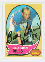 Billy Shaw AUTOGRAPH 1970 Topps Football #229 Bills HOF '99 CARD IS CLEAN VG/EX; AUTO CLEAN