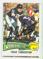 Fran Tarkenton AUTOGRAPH 1975 Topps Football #400Vikings HOF '86 CARD IS G/VG; MISCUT OC