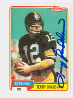 Terry Bradshaw AUTOGRAPH 1981 Topps Football #375 Steelers HOF '89 CARD IS CLEAN VG/EX; CRN DING  [SKU:BradT50164_T81FB]