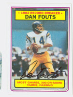 Dan Fouts AUTOGRAPH 1983 Topps Football #3 Record Breaker Chargers HOF '93 CARD IS SHARP NMT