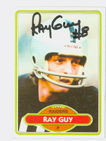 Ray Guy AUTOGRAPH 1980 Topps Football #310 Raiders HOF '14 CARD IS CLEAN EX
