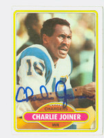 Charlie Joiner AUTOGRAPH 1980 Topps Football #28 Chargers HOF '96 CARD IS G/VG; CRN DING