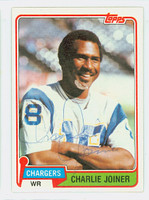 Charlie Joiner AUTOGRAPH 1981 Topps Football #496 Chargers HOF '96 CARD IS CLEAN EXMT  [SKU:JoinC52069_T81FB]