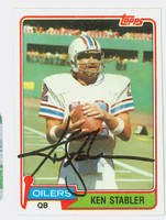 Ken Stabler AUTOGRAPH d.15 1981 Topps Football #405 Oilers HOF '16 CARD IS CLEAN EX