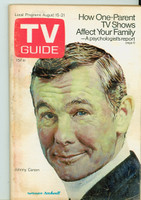 1970 TV Guide August 15 Johnny Carson Western New York edition Very Good to Excellent - No Mailing Label  [Heavy toning and discoloration on cover; contents fine]