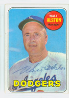 Walt Alston AUTOGRAPH d.84 1969 Topps #24 Dodgers CARD IS CLEAN VG/EX