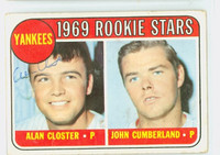 Alan Closter AUTOGRAPH 1969 Topps #114 Yankees CARD IS G/VG; CRN WEAR, AUTO CLEAN  [SKU:ClosA2404_T69BBR]