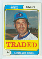 Nelson Briles AUTOGRAPH d.05 1974 Topps #123 Traded Royals CARD IS CLEAN EX  [SKU:BrilN1376_T74BBTR]