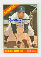 Clete Boyer AUTOGRAPH d.07 1966 Topps #9 Yankees CARD IS F/P; HEAVY CREASE  [SKU:BoyeC1331_T66BB]
