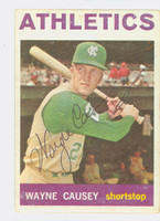 Wayne Causey AUTOGRAPH 1964 Topps #75 Athletics CARD IS G/VG; CRN WEAR