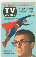 1953 TV Guide Sep 25 George Reeves as Superman Chicago edition Very Good  [Heavy wear and indent marks on cover, contents fine; label on reverse]