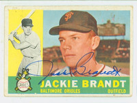 Jackie Brandt AUTOGRAPH 1960 Topps #53 Orioles CARD IS G/VG; SL CRN CREASE