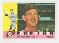 Eddie Fisher AUTOGRAPH 1960 Topps #23 Giants CARD IS VG; AUTO CLEAN