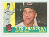 Tito Francona AUTOGRAPH 1960 Topps #30 Indians CARD IS G/VG; SL CRN CREASE