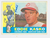 Eddie Kasko AUTOGRAPH 1960 Topps #61 Reds CARD IS VG; AUTO CLEAN