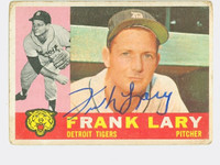 Frank Lary AUTOGRAPH 1960 Topps #85 Tigers CARD IS F/G; CRN CRUSHES