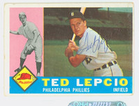 Ted Lepcio AUTOGRAPH 1960 Topps #97 Phillies CARD IS G/VG; SL RND CRNS, BEND