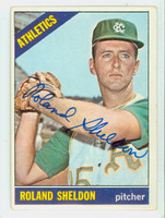 Roland Sheldon AUTOGRAPH 1966 Topps #18 Athletics CARD IS G/VG; LT CREASE, AUTO CLEAN