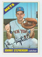 Johnny Stephenson AUTOGRAPH 1966 Topps #17 Mets CARD IS CLEAN VG/EX