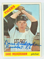 Dave Wickersham AUTOGRAPH 1966 Topps #58 Tigers CARD IS F/P; CREASES