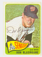 Don Blasingame AUTOGRAPH d.05 1965 Topps #21 Senators CARD IS VG; AUTO CLEAN