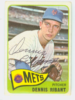 Denis Ribant AUTOGRAPH 1965 Topps #73 Mets CARD IS VG; AUTO CLEAN