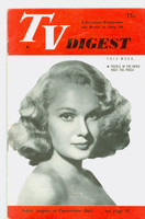 1951 TV Digest July 28 Adele Jergens of Pantomime Quiz (32 pgs) Philadelphia edition Very Good  [Wear and creasing on cover; contents fine, label stamped on reverse]